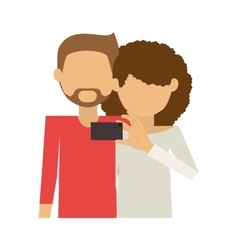 Half body of couple and curly woman take selfie vector