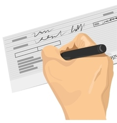 Hand holding a pen signing a blank check vector
