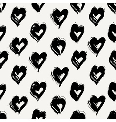 Hand Painted Hearts Pattern vector image