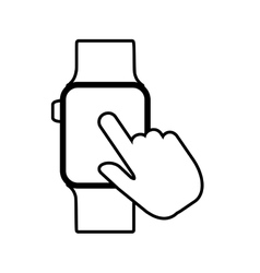 hand tocuh smart watch wearable outline vector image