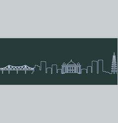 Hanoi single line skyline vector