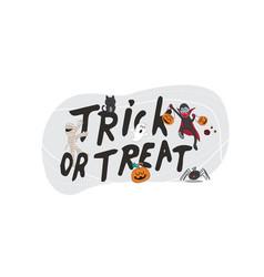 happy halloween text banner trick or treat vector image