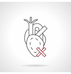 Harm to heart flat line icon vector