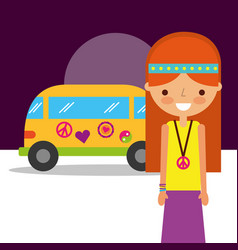 Hippie woman traditional van retro free spirit vector