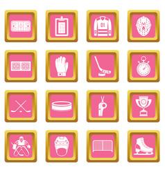 Hockey icons pink vector