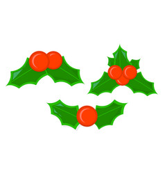 holly xmas isolated icon cartoon style for vector image