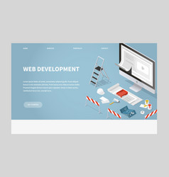 isometric concept main page website development vector image