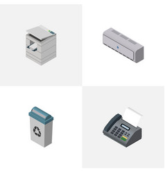 Isometric work set of wall cooler scanner office vector