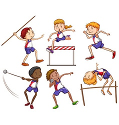 Kids engaging in different outdoor sports vector image