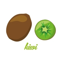 Kiwi fruits poster in cartoon style depicting vector