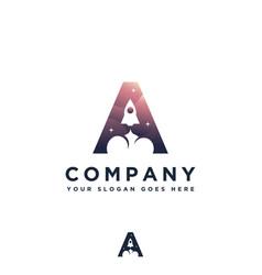 letter a rocket logo vector image