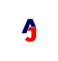 Letter aj linked geometric simple design symbol vector