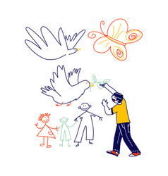 little boy drawing doves with branch and happy vector image