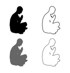 man praying silhouette icon set grey black color vector image