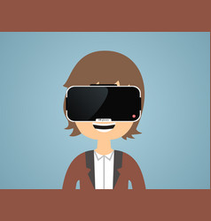 Man with glasses of virtual reality vector