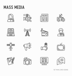 mass media thin line icons set vector image