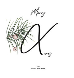 merry xmas minimalist card with pine branch and vector image