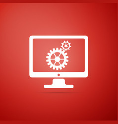 monitor and gears icon isolated on red background vector image