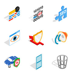 Multifunction device icons set isometric style vector