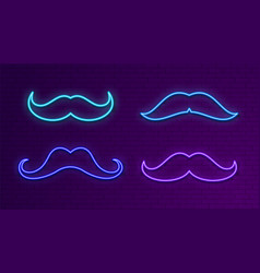 neon bright signboards blue light mustache glow vector image
