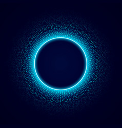 neon circle with dots light effect on black vector image