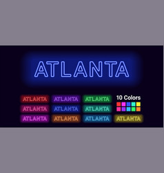 Neon name of atlanta city vector