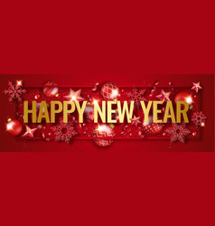 New year horizontal banner with shining snowflakes vector