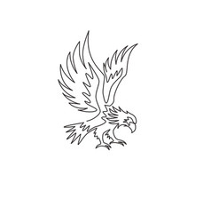 One continuous line drawing strong eagle vector