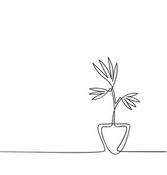 one line drawing house plant in pot black vector image