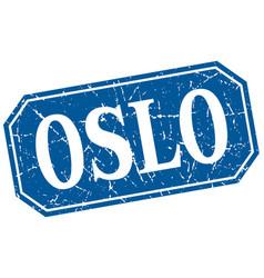 oslo blue square grunge retro style sign vector image