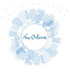 Outline new orleans louisiana city skyline with vector