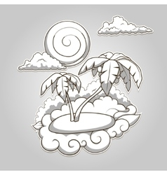 Palms tropical colorless vector image