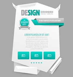 Paper origami poster template vector