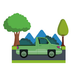 Pick up truck vehicle sideview cartoon vector