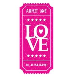 pink love ticket vector image