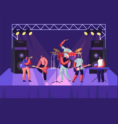 rock band performing on stage electric guitarists vector image