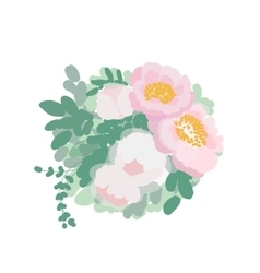 Romantic wedding bouquet of peonies and green vector image