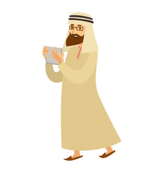 saudi arab man with tab or smartphone vector image