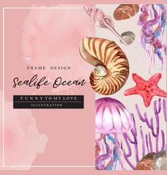 Sealife-themed border frame design in pastel vector