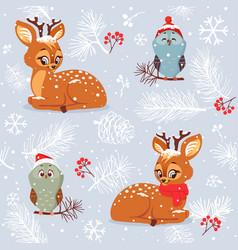 Seamless cute deer vector