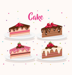 set cake portions icons vector image