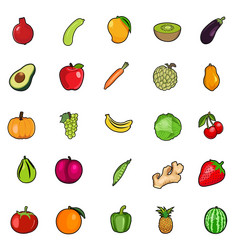 Set fresh colorful fruit vegetables vector