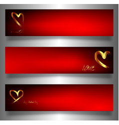 set golden hearts banners valentines day vector image