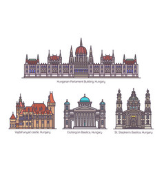 Set hungarian or hungary landmarks in line vector