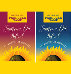 Set of labels for sunflower oil with sunflower vector