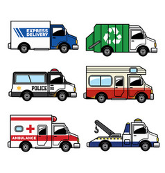 set of service truck vector image