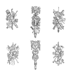 Sketches of architectural elements vector image