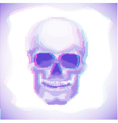 Skull anaglyph effect halftone image vector