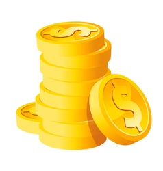 Stack Dollar Gold Coins vector image