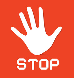 Stop Palm Hand on Red Background vector
